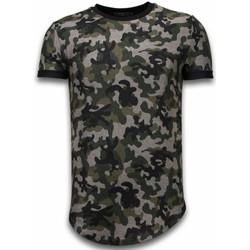 textil Herr T-shirts Justing Camouflaged Fashionable Long Fit Grön