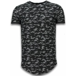 textil Herr T-shirts Justing Camouflage Long Fit Army Svart