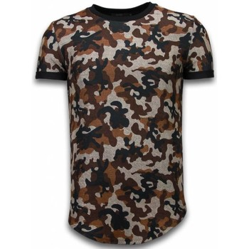 textil Herr T-shirts Justing Camouflaged Fashionable Long Fit Brun
