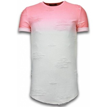 textil Herr T-shirts Justing Flare Effect Long Fit Dual Colored Vit, Rosa