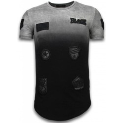 textil Herr T-shirts Justing Leather Patched Long Fi Svart