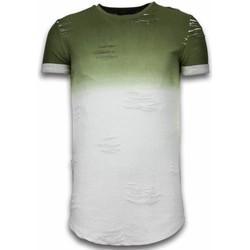 textil Herr T-shirts Justing Flare Effect Long Fit Dual Colored Vit, Grön