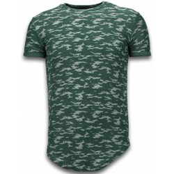 textil Herr T-shirts Justing Camouflage Long Fit Army Grön