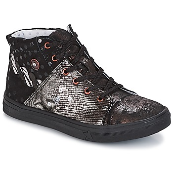 Skor Flickor Höga sneakers Catimini ROUSSEROLLE Svart / Silverfärgad