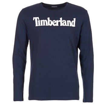 textil Herr Långärmade T-shirts Timberland LINEAR LOGO PRINT RINGER Marin