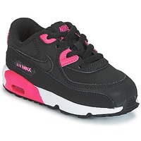Skor Flick Sneakers Nike AIR MAX 90 LEATHER TODDLER Svart / Rosa