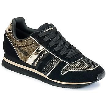 Skor Dam Sneakers Versace Jeans LETRE Svart / Guldfärgad