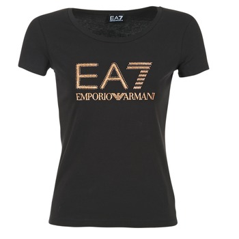 textil Dam T-shirts Emporio Armani EA7 TRAIN LOGO SERIES GLITTER Svart / Guldfärgad / Rosa