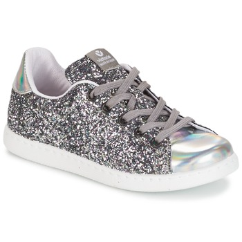 Skor Flickor Sneakers Victoria DEPORTIVO BASKET GLITTER KID Silver