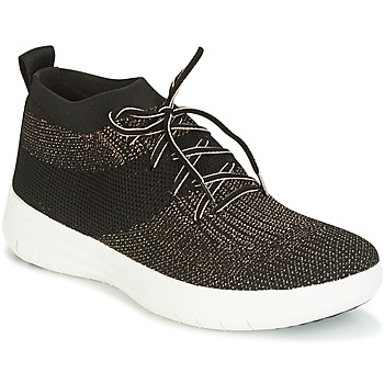 Skor Dam Höga sneakers FitFlop UBERKNIT SLIP-ON HIGH TOP SNEAKER Svart / Brons