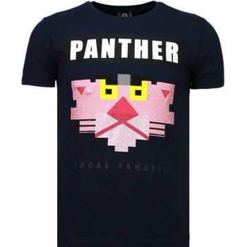textil Herr T-shirts Local Fanatic Panther For A Cougar Rhinestone Blå