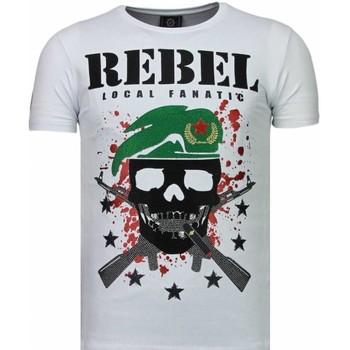 textil Herr T-shirts Local Fanatic Skull Rebel Rhinestone Vit