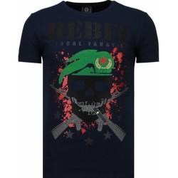 textil Herr T-shirts Local Fanatic Skull Rebel Rhinestone B Blå