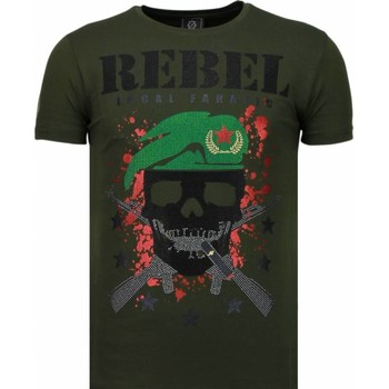 textil Herr T-shirts Local Fanatic Skull Rebel Rhinestone Grön