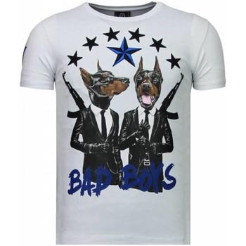 textil Herr T-shirts Local Fanatic Bad Boys Pinscher Rhinestone Vit