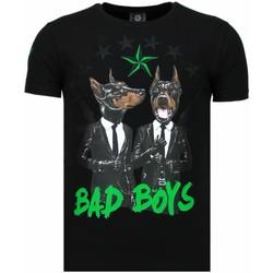 textil Herr T-shirts Local Fanatic Bad Boys Pinscher Rhinestone Svart