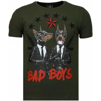 textil Herr T-shirts Local Fanatic Bad Boys Pinscher Rhinestone Grön