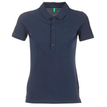 textil Dam Kortärmade pikétröjor Benetton MAJOU Marin