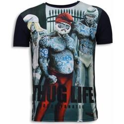 textil Herr T-shirts Local Fanatic Thug Life Rhinestone Blå