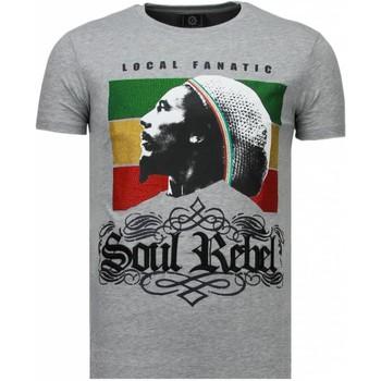 textil Herr T-shirts Local Fanatic Soul Rebel Bob Rhinestone Grå