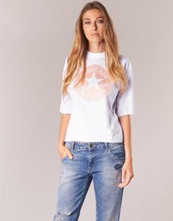 textil Dam T-shirts Converse SATIN CP MOCK NECK TEE Vit