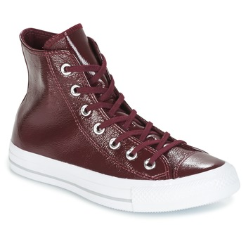 Skor Dam Höga sneakers Converse CHUCK TAYLOR ALL STAR CRINKLED PATENT LEATHER HI DARK SANGRIA/DA Bordeaux / Vit
