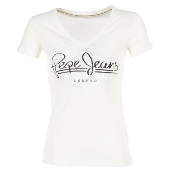 textil Dam T-shirts Pepe jeans BRENDA Vit