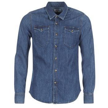 textil Herr Långärmade skjortor Yurban HERZI Blå