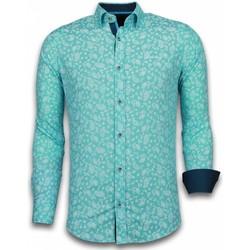textil Herr Långärmade skjortor Tony Backer Slim Fit Stretch Shirt Mönstrad Skjorta Turkos
