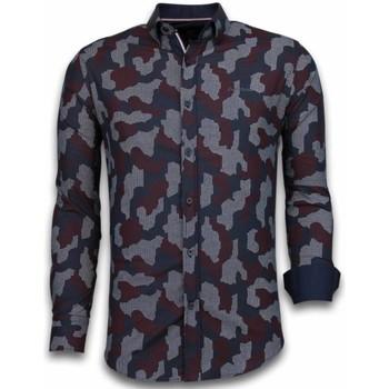 textil Herr Långärmade skjortor Tony Backer Slim Fit Stretch Shirt Mönstrad Skjorta Svart, Bordeaux