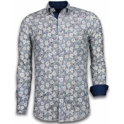 textil Herr Långärmade skjortor Tony Backer Skjorta Blommönster Blå