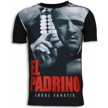 textil Herr T-shirts Local Fanatic El Padrino Face Rhinestone Svart