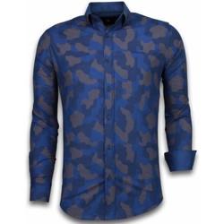 textil Herr Långärmade skjortor Tony Backer Prickig Herrskjorta Herrs Kjorta Slim Fit Blå