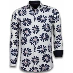 textil Herr Långärmade skjortor Tony Backer Skjorta Blommönster Sommar Vit