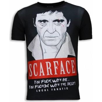 textil Herr T-shirts Local Fanatic Scarface Red Scar Rhinestone Svart