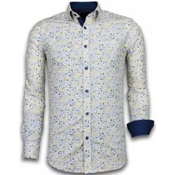 textil Herr Långärmade skjortor Tony Backer Blommiga Iga Beige