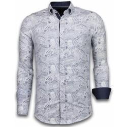 textil Herr Långärmade skjortor Tony Backer Blommig Skjorta Slim Fit För Blå