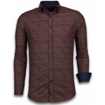 textil Herr Långärmade skjortor Tony Backer Mönstrad Skjorta Skjorta Ståkrage Bordeau Bordeaux