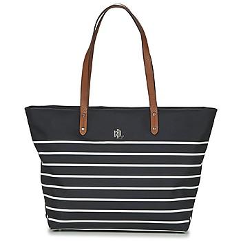 Väskor Dam Shoppingväskor Ralph Lauren BAINBRIDGE TOTE Svart / Vit