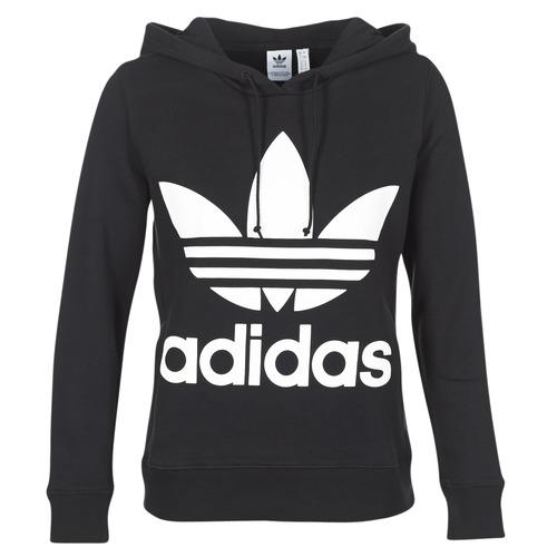 textil Dam Sweatshirts adidas Originals TREFOIL HOODIE Svart