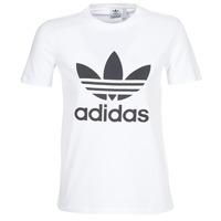 textil Dam T-shirts adidas Originals TREFOIL TEE Vit