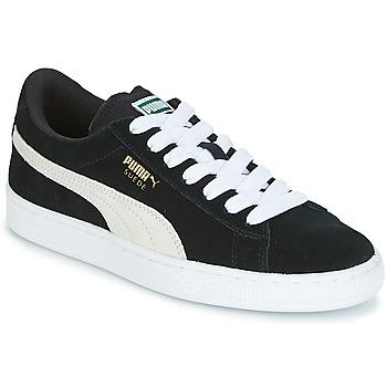 Skor Barn Sneakers Puma SUEDE JR Svart / Vit