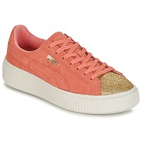Skor Flickor Sneakers Puma SUEDE PLATFORM GLAM JR Orange / Guldfärgad