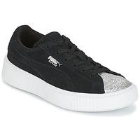 Skor Flickor Sneakers Puma SUEDE PLATFORM GLAM PS Svart / Silver