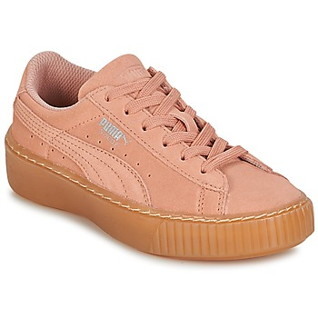 Skor Flickor Sneakers Puma SUEDE PLATFORM JEWEL PS Rosa