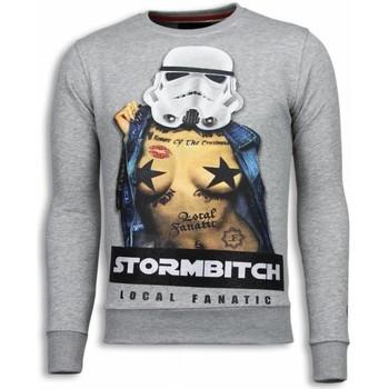 textil Herr Sweatshirts Local Fanatic Stormbitch Rhinestone Grå