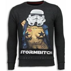 textil Herr Sweatshirts Local Fanatic Stormbitch Rhinestone Stenkol Grå