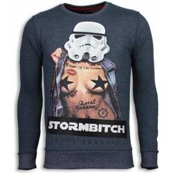 textil Herr Sweatshirts Local Fanatic Stormbitch Rhinestone Tjock Blå