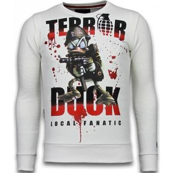 textil Herr Sweatshirts Local Fanatic Terror Duck Rhinestone Vit