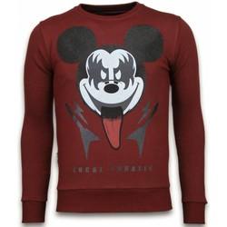 textil Herr Sweatshirts Local Fanatic Kiss My Mickey Rhinestone Swea Bordeaux